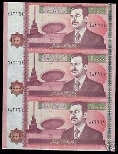 IRAQ 10000 10,000 DINAR P89 2002 SADDAM Uncut Sheet of 3 NOTE IRAQI CURRENCY IRD