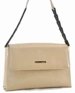 Authentic GUCCI Shoulder Bag Plastic Handle Leather Ivory C3832