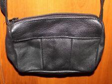 Genuine Soft Biker Leather Mini Shoulder Black Purse - With Zipper