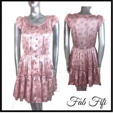 Machka Pure Silk Dress Pudre Pink Floral Ruffled Hem Pockets UK 10 EU 38 US 6