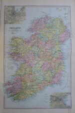 1895 MAP IRELAND BELFAST CONNAUGHT MINSTER WATERFORD DUBLIN LEINSTER CORK