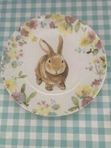 222 Fifth Sydney Easter Bunny & Floral / App /Dessert Plates (Set of 4) NWT