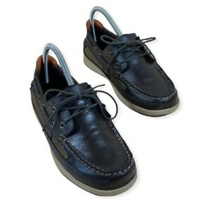 Cherokee Boy's Dark Brown Leather Boat Shoes Slip On Loafers Size 5.5