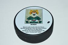 NORDY Minnesota Wild Hockey Team Mascot Biography Photo HOCKEY PUCK Rare Limited