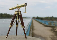 Marine Nautical Telescope Vintage Brass Barrel Telescope With Wood Tripod Decor.