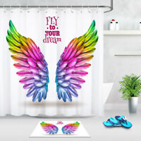 Bathroom Waterproof Fabric Shower Curtain Set Rainbow Color Feathers Wing Design