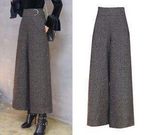 Women Winter High Waist Wool Tweed Palazzo Wide Loose Leg Pants Culottes Trouser