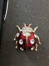 Lady Bug Red Gold Diamante Brooch Deceased Estate Jewellery