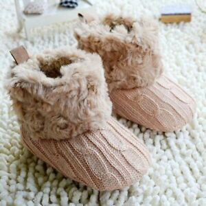 First Walker Ankle Snow Boots For Infant Babies Knit Fleece Slip-on Winter Shoes