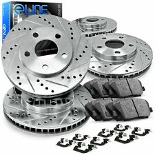 For 2012-2017 Ford F-150 Front Rear Drill/Slot Brake Rotors+Ceramic Brake Pads