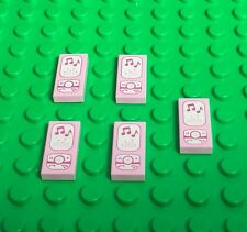 Lego X5 Pc. New Bright Pink Cellphone / Mini Figures MP3 Music Player Lot