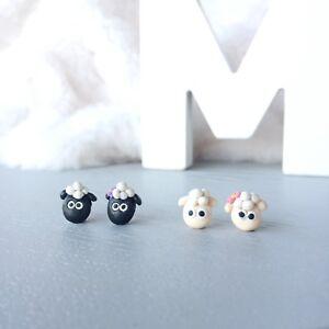Sheep Polymer Clay Stud Earrings Shaun The Sheep Cartoon Earrings Surgical Steel