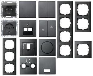 Merten System M Pure Anthrazit edelmatt Steckdose Wippe Rahmen zur Auswahl