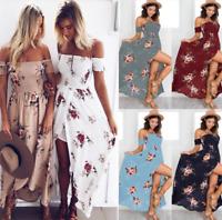 Women Chiffon Floral Boho Off Shoulder Split Maxi Beach Dresses Party Sundresses
