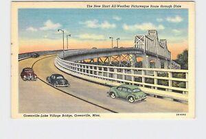 PPC Postcard MS Mississippi Greenville Lake Village Bridge Antique Cars