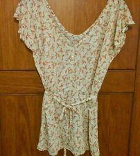 Maglietta camicia blusa scollata Pull&Bear taglia S panna fiorellini provenzale