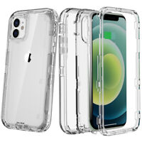 For iPhone 12 Pro/11 Pro Max Rugged Heavy Duty Transparent Hard Armor Case Cover