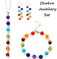 7 Chakra Bracelet Necklace Earrings Jewellery Set Crystal Healing Stones Balance