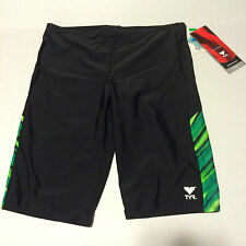 TYR Mens Black Green Jammer Swim Suit Size 36 Stripe Splice New Lycra Spandex