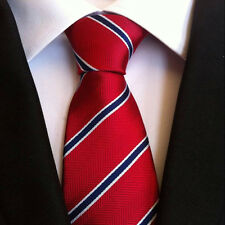 Classic Mens Silk Tie Necktie Red w/ Blue White Stripes Woven JACQUARD Neck Ties