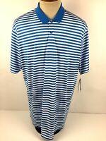 NWT Nike Golf Dri Fit Mens 2XL Blue White Striped Short Sleeve Polo Shirt