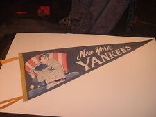 RARE 1950's New York Yankees Mickey Mantle Multi Colored Blue Felt Pennant