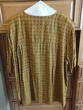 Elisabeth Liz Claiborne Outfit Blouse w/ Matching Split Skirt 22W Gold Black