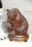 Antique hand Black forest wood carved swiss bear statue REUGE music box