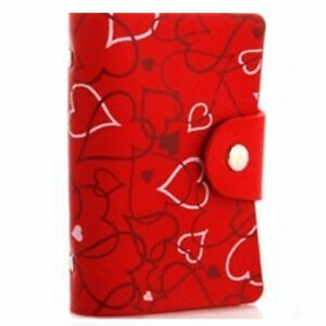 26 Credit Oyster Heart Card Business ID Wallet Holder Genuine Real Leather Case