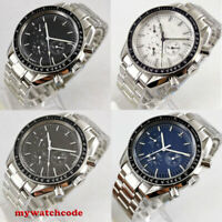 40mm Bliger blue white black dial week day multifunction automatic mens watch