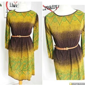 Vintage 70s Small Fully Pleated Brown & Green Pattern Midi Dress Size 12 - 14