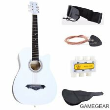 Beginners Acoustic Guitar w/Guitar Case, Strap, Tuner & Pick Steel String White