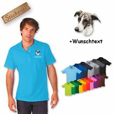 Polo Shirt Shirt Cotton Embroidered Embroidery Greyhound + Text of Your Choice