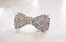 Small bow shaped crystal hair barrette  clip bridal clip bridal barrette