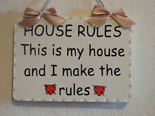 NEW DESIGN Decorative Handcrafted HOUSE RULES Sign / Plaque