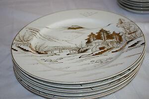 "KUTANI CHINA HAND PAINTED JAPAN ""COUNTRYSIDE"" (6) DINNER PLATES 10"""