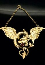 Antique Ruby Pendant Dragon Large Extraordinary Art Nouveau French Piece C.1890s