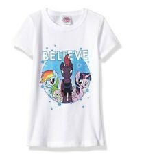 My Little Pony Girls' Big Movie Believe Short Sleeve Tee, White, Size Large