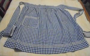 Cute Blue Gingham Cotton Smocked Chicken Scratch Apron With Pocket EUC!