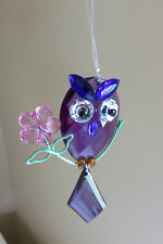 OWL SUN CATCHER ACRYLIC 5.5 IN. X 2 IN.GARDEN ACCENT  BLING HOOTER OWL SHAPED
