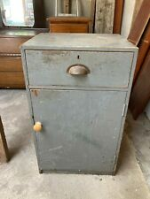 Vintage Grey Painted Wooden Kitchen Workshop Shed Cabinet with Drawer