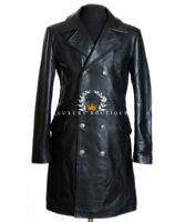 German Major General Black Men s Designer Military WW2 Real Cowhide Leather  Coat bfc3e46ef022