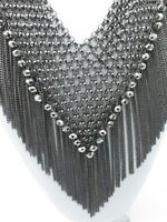 Statement Necklace Collar Bib Gunmetal Gray Crystals Silver Layered Thick Chains