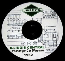 Illinois Central 1952 Passenger Car Diagrams PDF Pages on  DVD