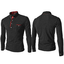 Mens Luxury Polo Shirt Long Sleeve Collared Top Polka Dot Casual Slim Fit Blouse
