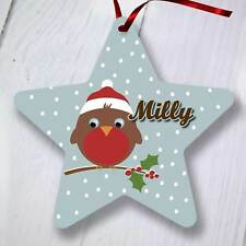Personalised Christmas Tree Ornament Decoration - Star - Brown Robin