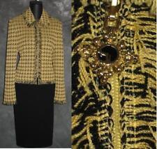 BEAUTIFUL St John collection jacket yellow black fringe knit suit blazer size 8