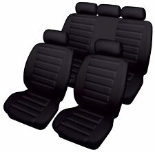 Black Leatherlook Front & Rear Car Seat Covers for Land Rover Defender 110