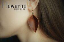 Handmade teardrop brown lightweight real Vintage Looking leather earrings