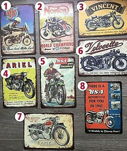 BSA, NORTON, AJS,VINCENT BRITISH MOTORCYCLE ACM PRINTED SIGNS A4 (300x210)